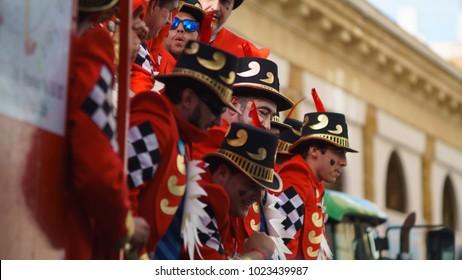 Cadiz, Andalusia, Spain; February 12 2018: Cadiz Carnival Celebration