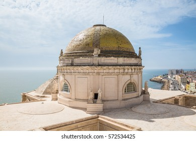 CADIZ, ANDALUSIA, SPAIN - OCTOBER, 2016: Cadiz Cathedral (Catedral de Cádiz, Catedral de Santa Cruz de Cádiz). Close view of ?athedral domes.