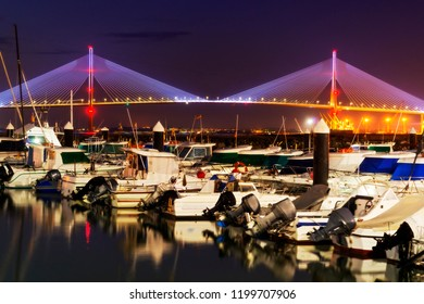 Cadiz, bridge of Constitution of 1812 in night , Spain