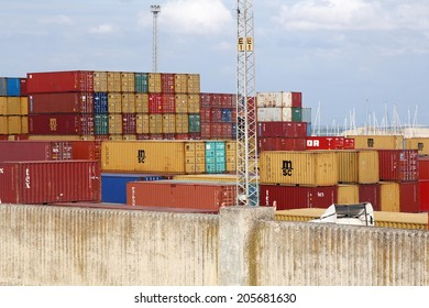 CADIZ - MAY 20: shipping containers in port; on May 20, 2014 Cadiz, Spain. Port of Cadiz Bay has situated itself as the Southern Port of Europe.