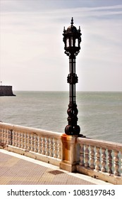 Cadiz seafront, spain, with forging artistic lamps, Andalusia,