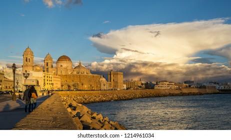 Cadiz Skyline and Cathedral Under Cumulonimbus