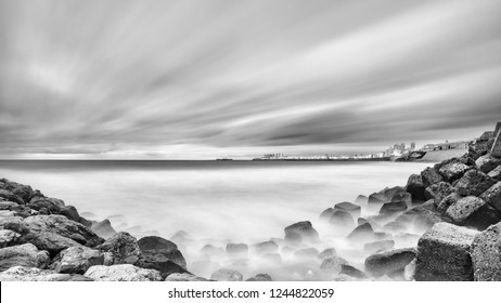 Cadiz Skyline from Santa Maria del Mar Beach Spain Black and White