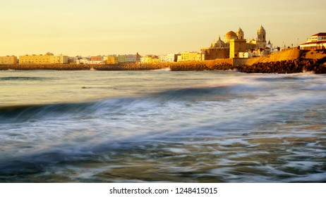 Cadiz Skyline from Santa Maria del Mar Beach Spain