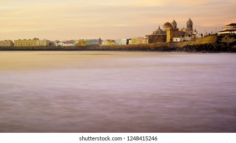 Cadiz Skyline from Santa Maria del Mar Beach Spain
