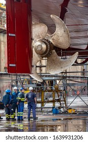 Cadiz / Spain. 11.25.2017. Engineers repairing a Cruise ship in dry dock