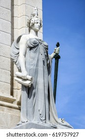 Cadiz Spain - April 1:The sculpture depicts the Constitution as a great midwife, dressed in Greek, in his left hand the sword of Justice and the law right, Cadiz, Spain