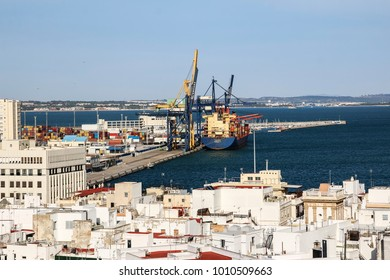 CADIZ, SPAIN - JANUARY 18, 2018: An aerial view of the commercial port of Cadiz. It is a city and port in southwestern Spain