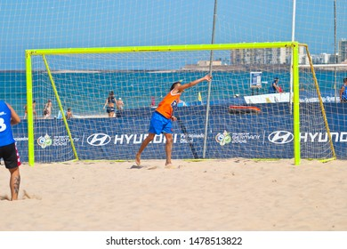CADIZ, SPAIN -  JUL 22:  Unknown goalkeeper of unknown team playing the Spanish Championship of Beach Soccer on Jul 22, 2006 on the beach of La Victoria in Cadiz, Spain