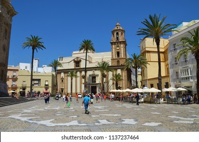 Cadiz, Spain - July 12th 2014: Center of Cadiz, Andalusia. Regarded by many as the oldest continuously inhabited city in Western Europe, founded by the Phoenicians around 1100 BC.