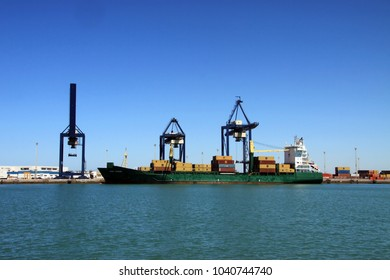 CADIZ, SPAIN - JULY 8, 2011: A container ship in the seaport of Cadiz.