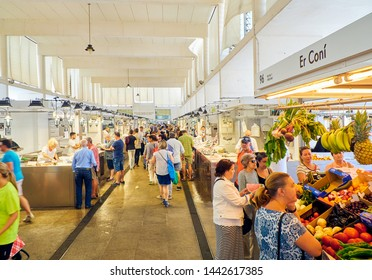Cadiz, Spain - June 22, 2019. Citizens shopping in Cadiz downtown Market, Mercado Central de Abastos. Cadiz, Andalusia, Spain.