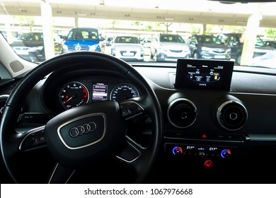 Cadiz, Spain - March 18 2018: Audi A3 interior design