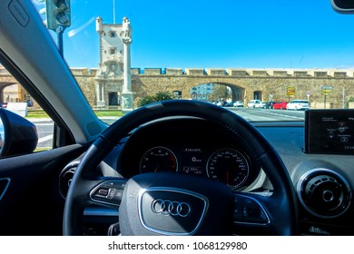 Cadiz, Spain - March 18 2018: Audi A3 interior 2018 and view of blue sky in Cadiz