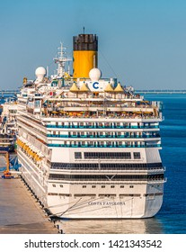 CADIZ, SPAIN - September 28, 2016: Costa Cruises is an Italian cruise line, based in Genoa, Italy, owned by Carnival Corporation