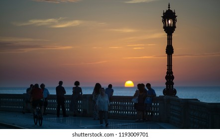 Cadiz, Spain; september 30 2018: Sunset at Alameda Promenade Cadiz Spain