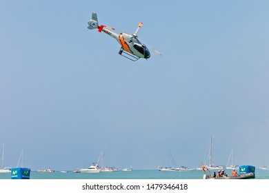 CADIZ, SPAIN-SEP 12: Helicopters of the Patrulla Aspa taking part in an exhibition on the 3rd airshow of Cadiz on Sep 12, 2010, in Cadiz, Spain