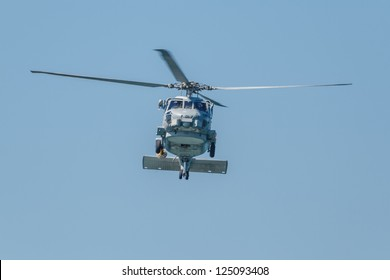 CADIZ, SPAIN-SEP 14:  Helicopter SH-60B Seahawk taking part in an exhibition on the 1st airshow of Cadiz on Sep 14, 2008, in Cadiz, Spain