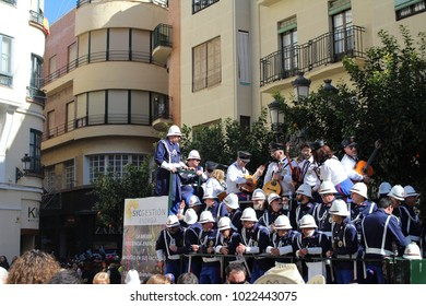 Cadiz,Spain, 11,02,2018. Parade day in Cadiz, the last parade prior to the beginning of lent. Many of the parade participants perform in the side streets before the official parade.