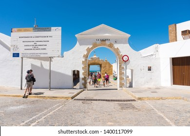 Cadiz,Spain-august 9, 2017:seafront promenade of Cadiz  during a sunny day
