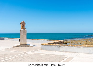 Cadiz,Spain-august 9, 2017:view of the Cadiz monument on the seafront promenade during a sunny day