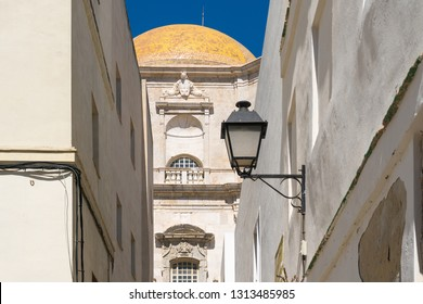 Cadiz,Spain-august 9, 2018:detail of the new cathedral of Cadiz during a sunny day