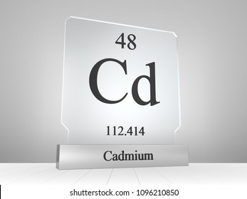 Cadmium symbol on modern glass and metal icon 3D render
