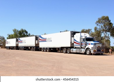 CADNEY HOMESTEAD, AUSTRALIA - December 1. Logistics transport by a very long cargo truck, Australian road train, in the Outback on December 1, 2015 in Cadney Homestead.