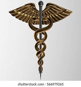 Caduceus - gold metal medical symbol, 3d render