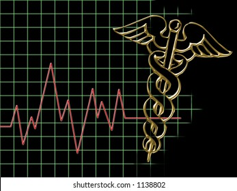 Caduceus and heart beat