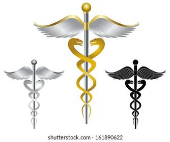 Caduceus Medical Symbol for Health Care Organizations Isolated on White Background Raster Illustration