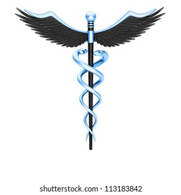 Caduceus medical symbol isolated on a white background