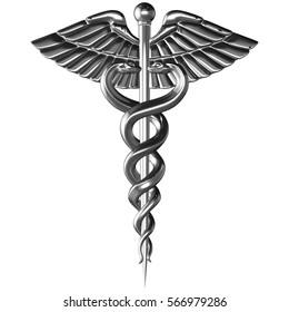 Caduceus - silver metal medical symbol, 3d render