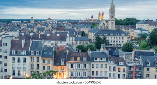Caen aerial cityscape, Normandy - France.