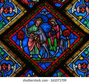 CAEN, FRANCE - FEBRUARY 12:  Stained glass window depicting Joseph, Mother Mary and Jesus in the cathedral of Caen, France, on February 12, 2013.
