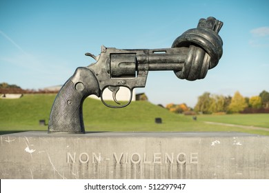 CAEN, FRANCE - OCTOBER 22, 2016: Gun tied in a knot outside Caen Memorial. The Memorial de Caen is a museum and war memorial in Normandy, commemorating the Second World War and the Battle for Caen.