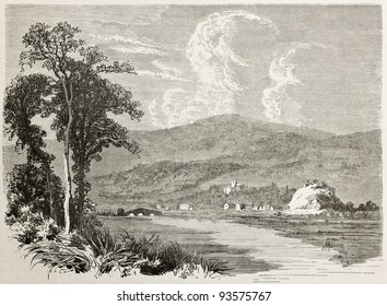 Caerleon old view, Wales. Created by Grandsire after Erny, published on Le Tour du Monde, Paris, 1867