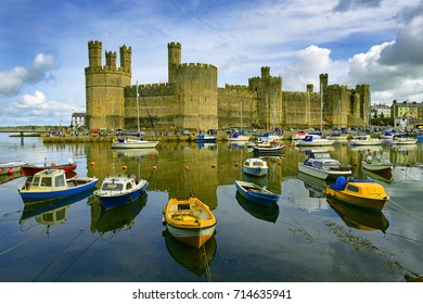 Caernarfon Castle, North Wales, UK. It belongs among Castles and Town Walls of King Edward in Gwynedd - UNESCO World Heritage site.