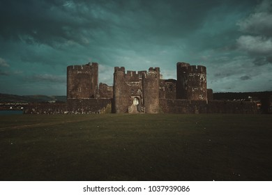 Caerphilley castle with cloudy sky. Wales landscape