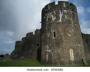 Caerphilly Castle, south Wales, UK
