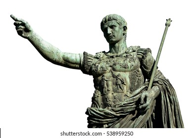 Caesar Augustus, the first emperor of Ancient Rome. Bronze monumental statue in the center of Rome (isolated on white background)