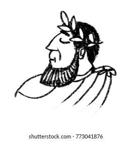 Caesar black and white illustration