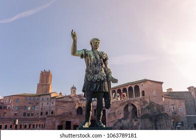 Caesar Emperor Trajan statue, in front of the Trajan's Markets in Rome, Italy
