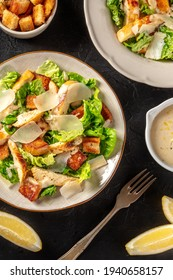 Caesar salad with chicken and Parmesan, shot from above