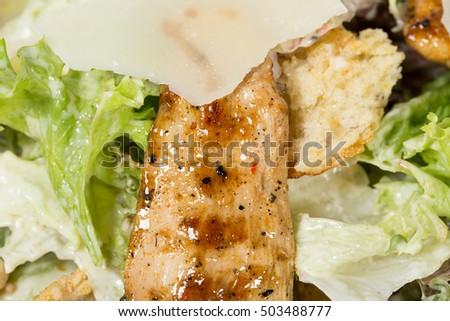 Caesar Salad Grilled Chicken Parmesan Macro Stock Photo Edit Now