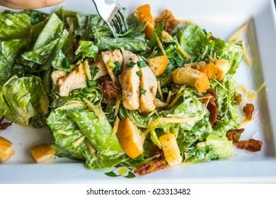Caesar salad with grilled chicken, Thailand.