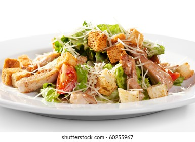 Caesar Salad with Meat. Comprises Romaine Salad Leaf and Croutons Dressed with Parmesan Cheese