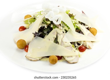caesar salad on a white background in the restaurant