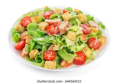 Caesar salad on white background. Healthy food.