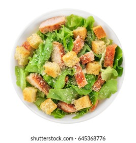 Caesar salad on white background. Healthy food.